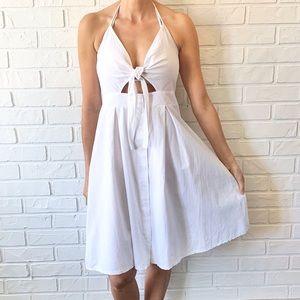 Tie front cut out halter full skirt white dress